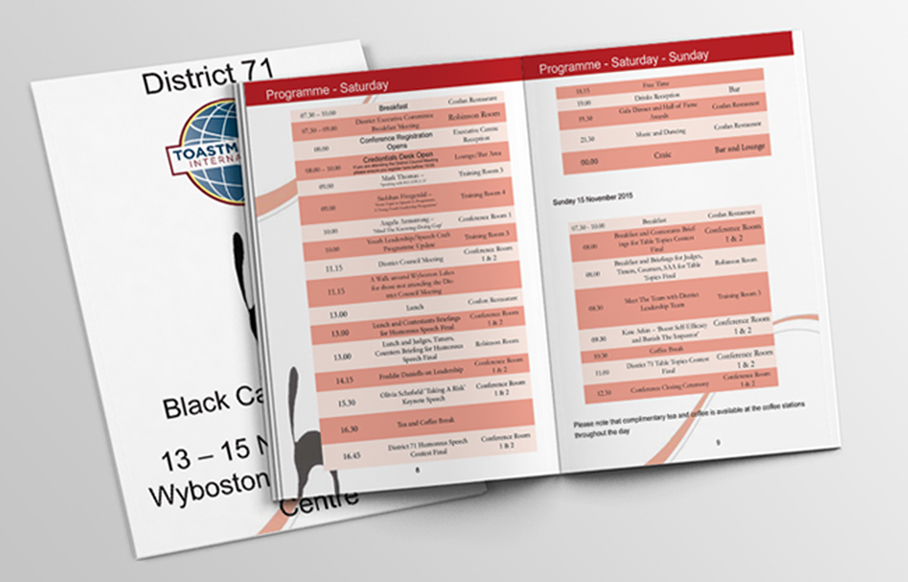 Toastmasters black cat conference booklet